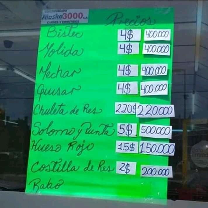Salario mínimo en Venezuela sube, pero eso no alcanza para un kilo de carne