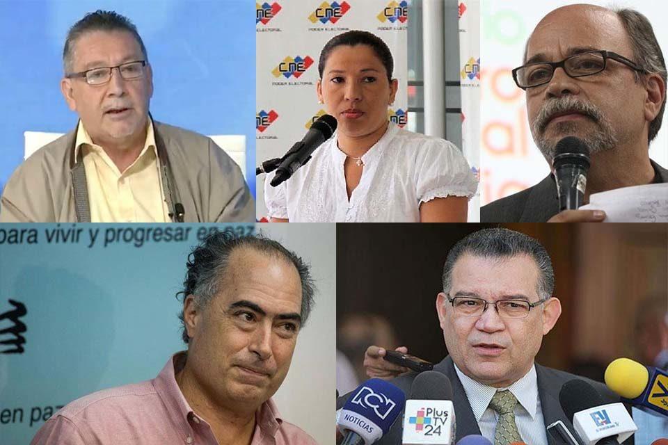Los cinco nuevos rectores del Consejo Nacional Electoral Venezolano